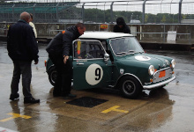 Mini in the pits at the Silverstone Classic