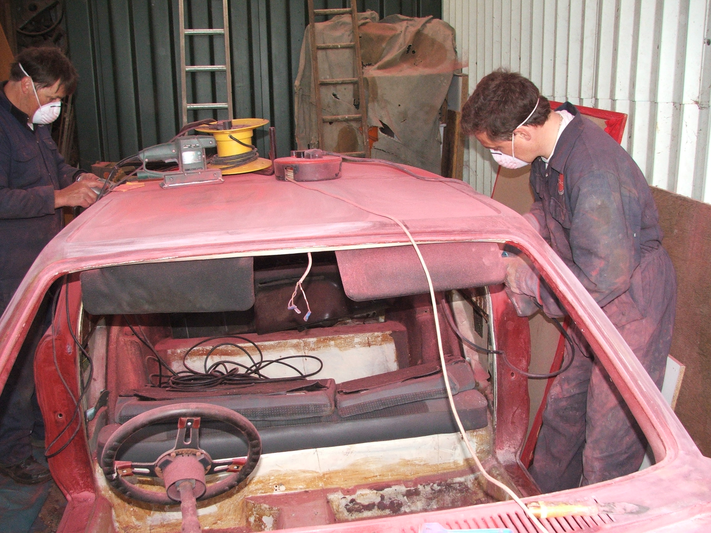 Geoff Ward and Eddie Ruskin working on Quantum Coupé 003